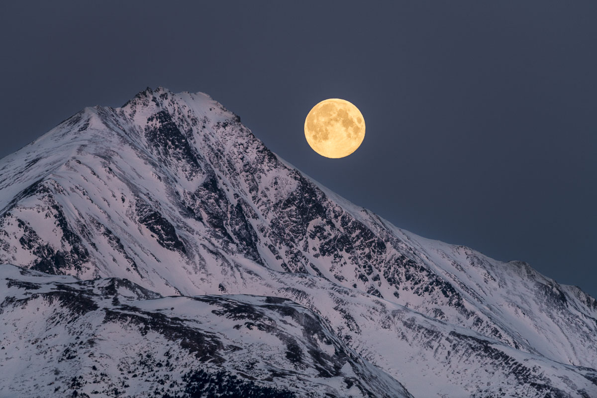 Full moon, Kenai Mountains, Turnagain Arm, moonset, morning, sunrise, winter, photo