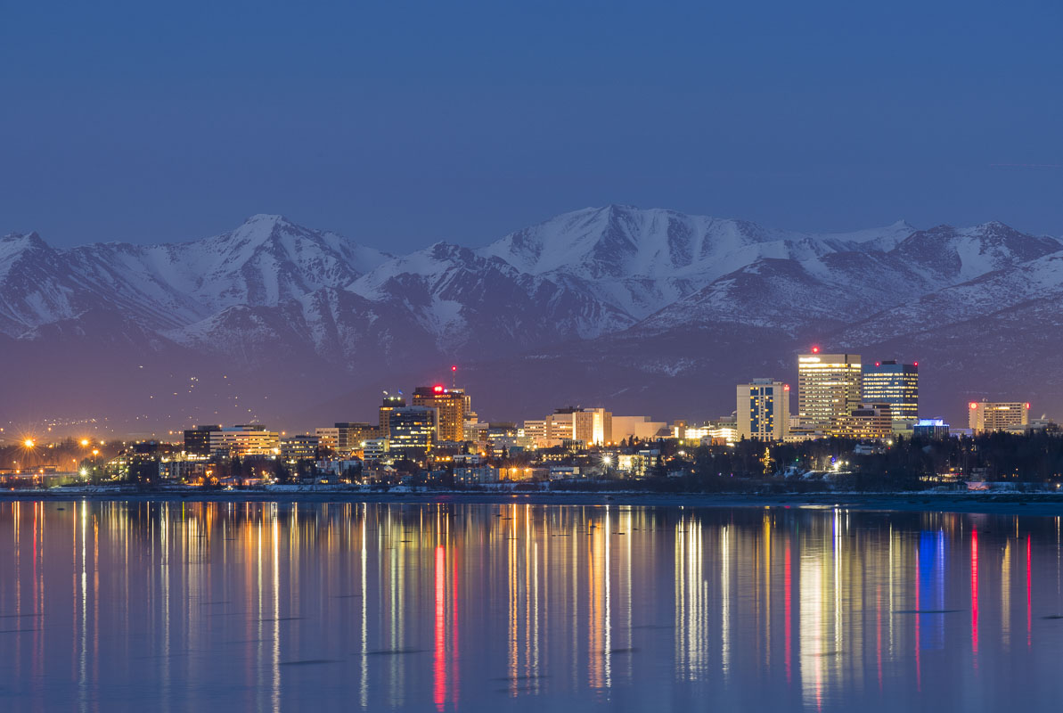 Anchorage skyline at twilight