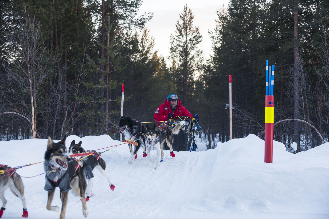 Petter Karlsson comes up a small hill for a trail crossing on a road that runs along the Norway-Russia border.