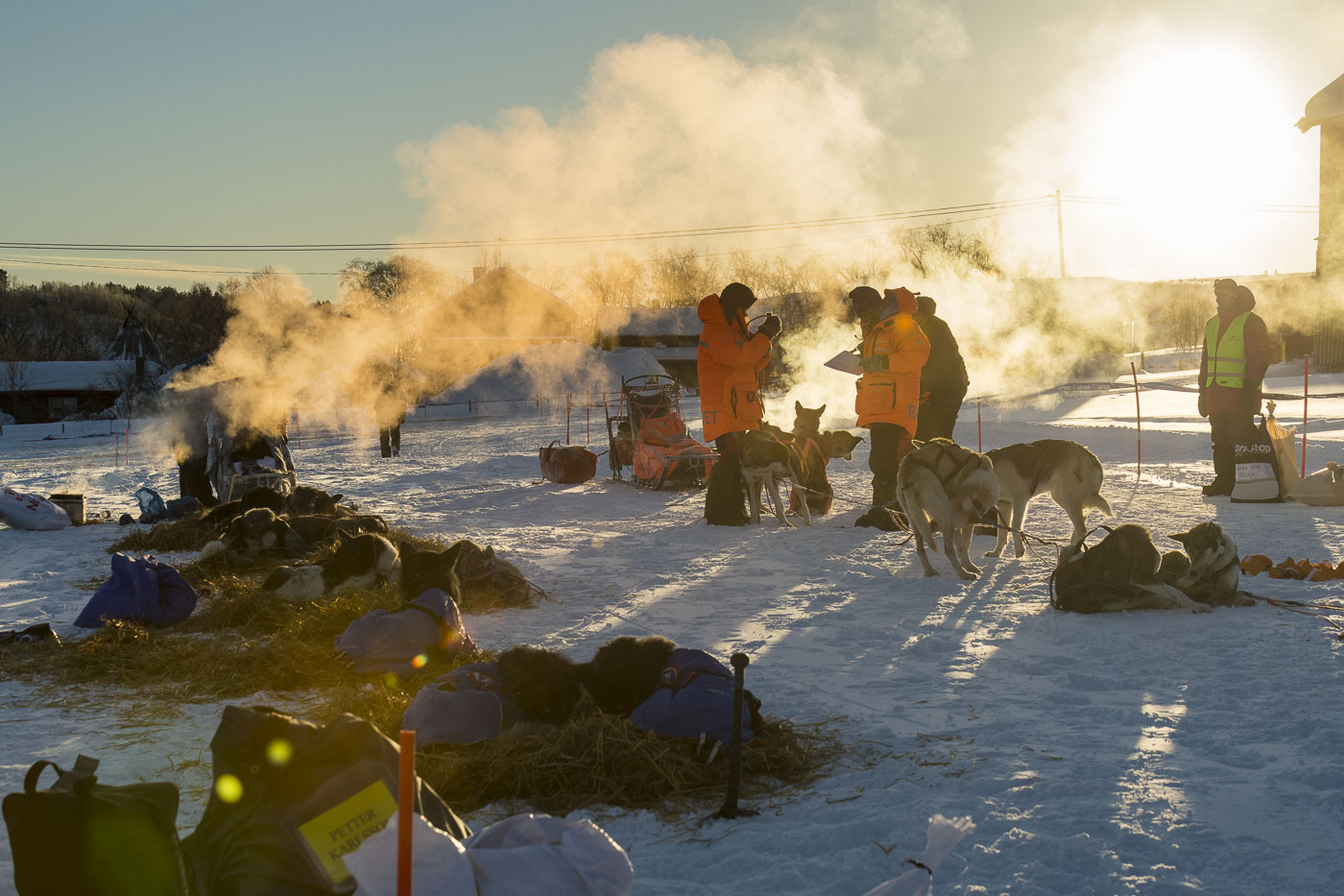 Steam rises up from cooking sites where mushers prepare meals for their teams at the Neiden 2 checkpoint for the 2019 Finnmarksl...