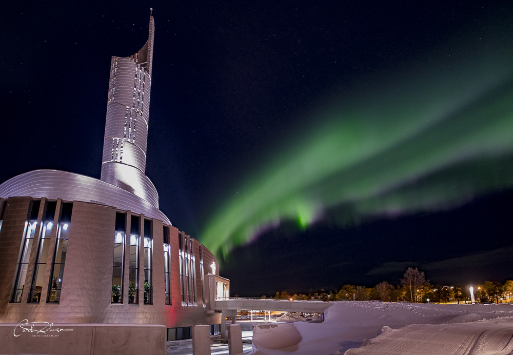 Northern lights and church