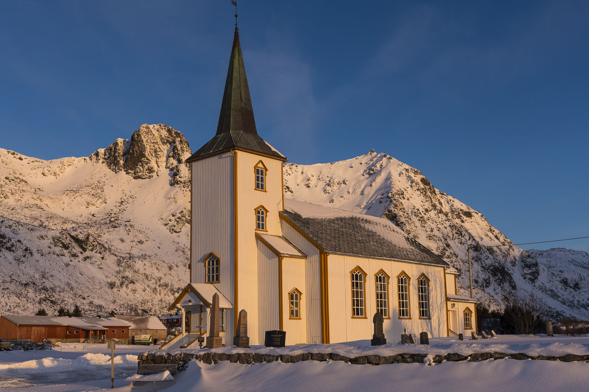 First light warms up the Valberg Kirke (Church) in the Lofoten Islands,  Norway.