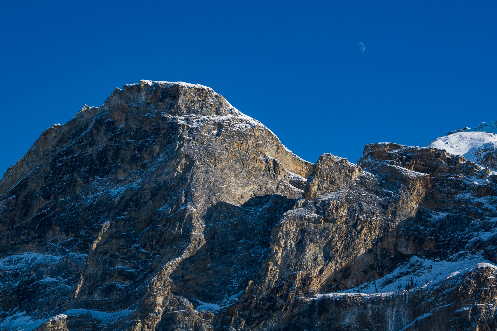 The moono floats over a section of Mt. Sukakpak in the Brooks Range of Alaska.