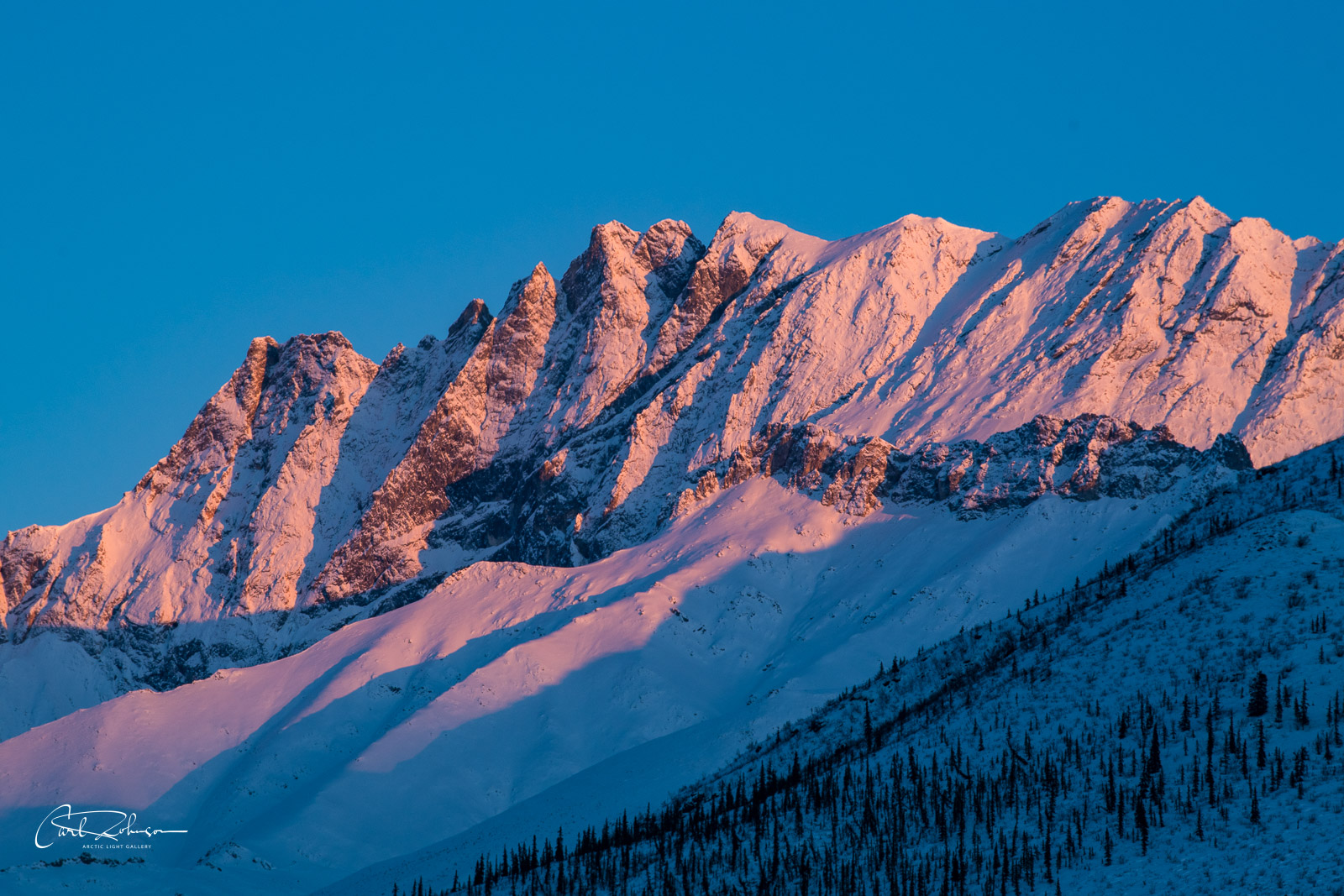 A mountain ridge in the Brooks Range glows pink with alpenglow on a winter evening.