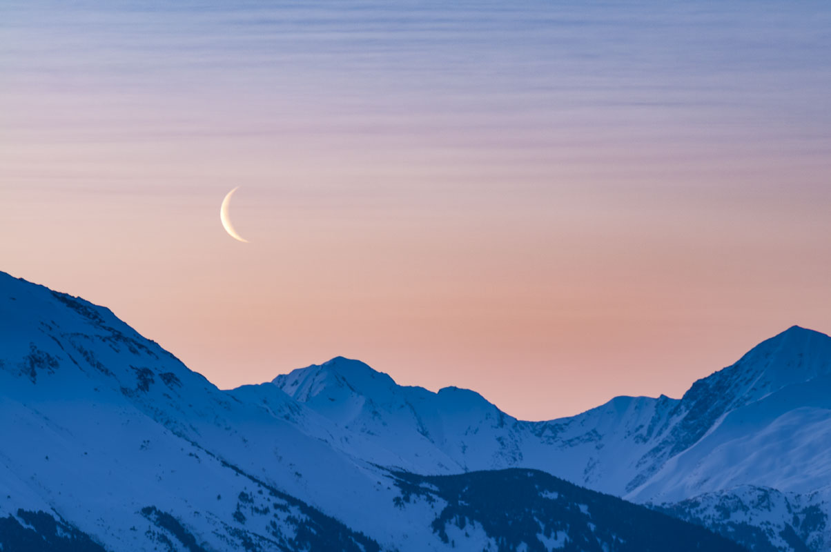 Alaska, Tunagain Arm, dawn, ice, landscape, moon, morning, mountains, snow, sunrise, winter, photo