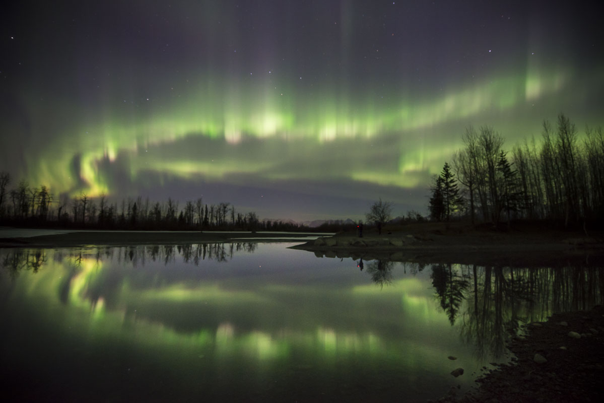 Eklutna Tailrace, Knik River, Spring, aurora borealis, landscape, night sky, northern lights, photo