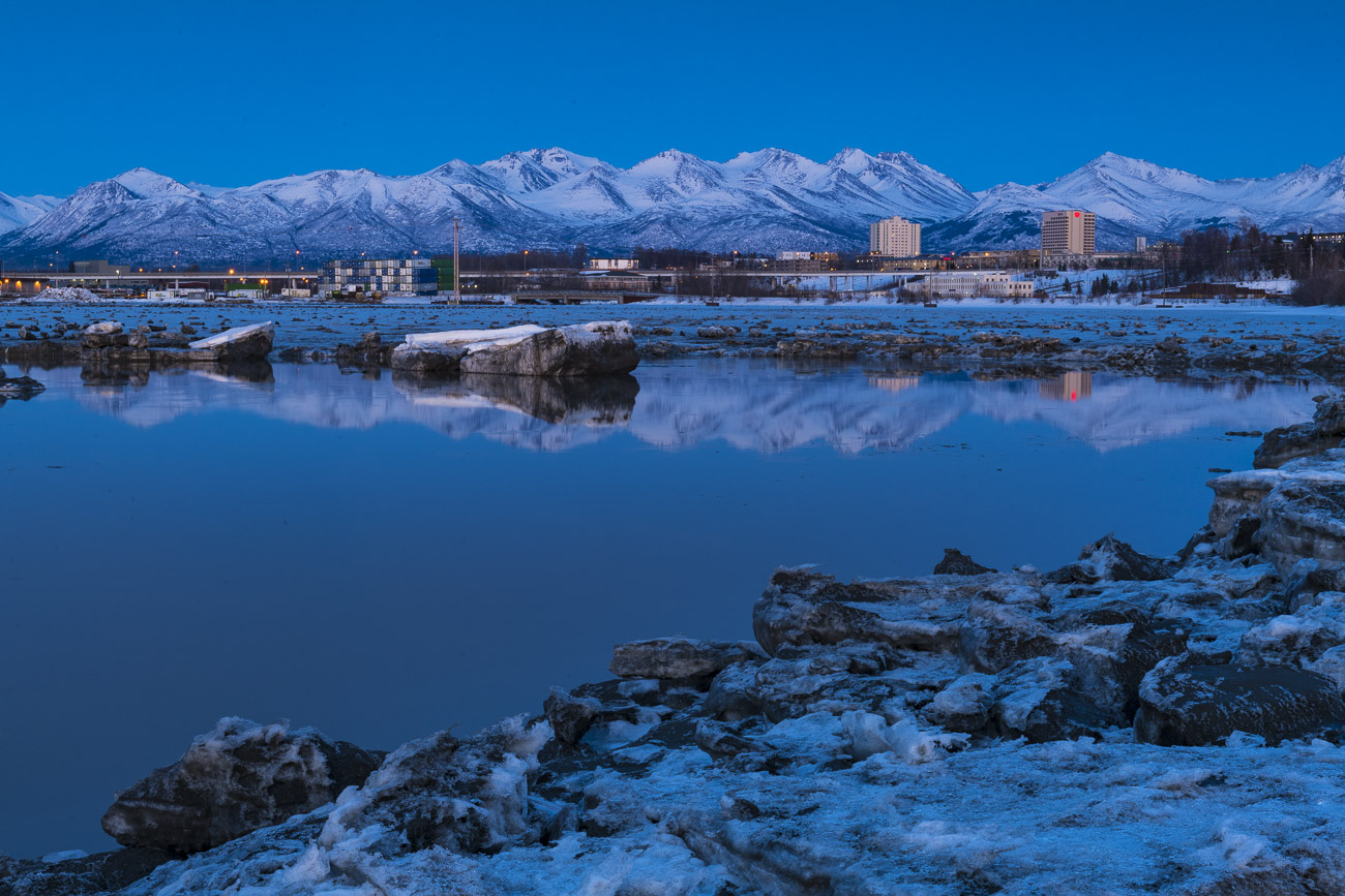 Most evening photos of Anchorage feature the downtown skyline, captured from an area near Point Woronzof on the western tip of...