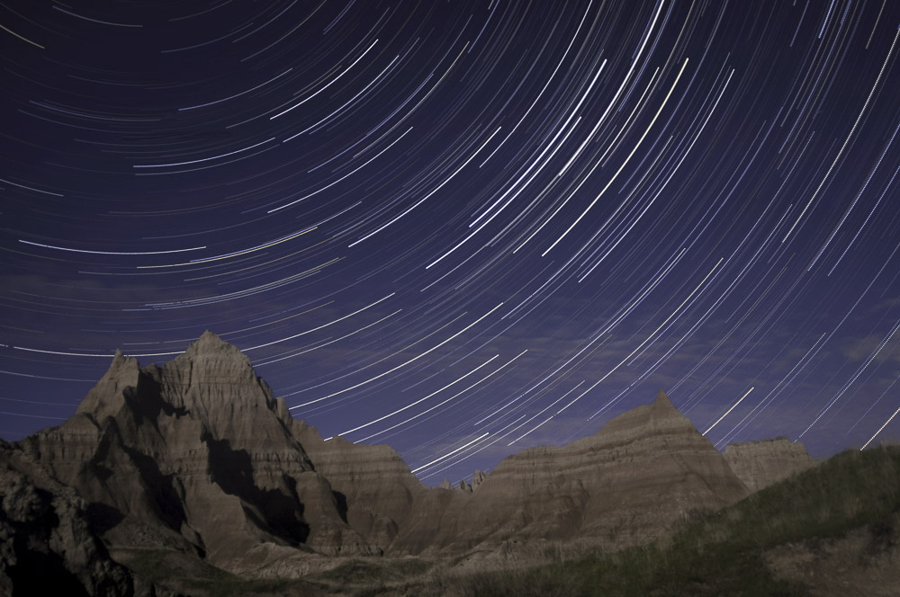 Stacked star trails photo, Badlands National Park