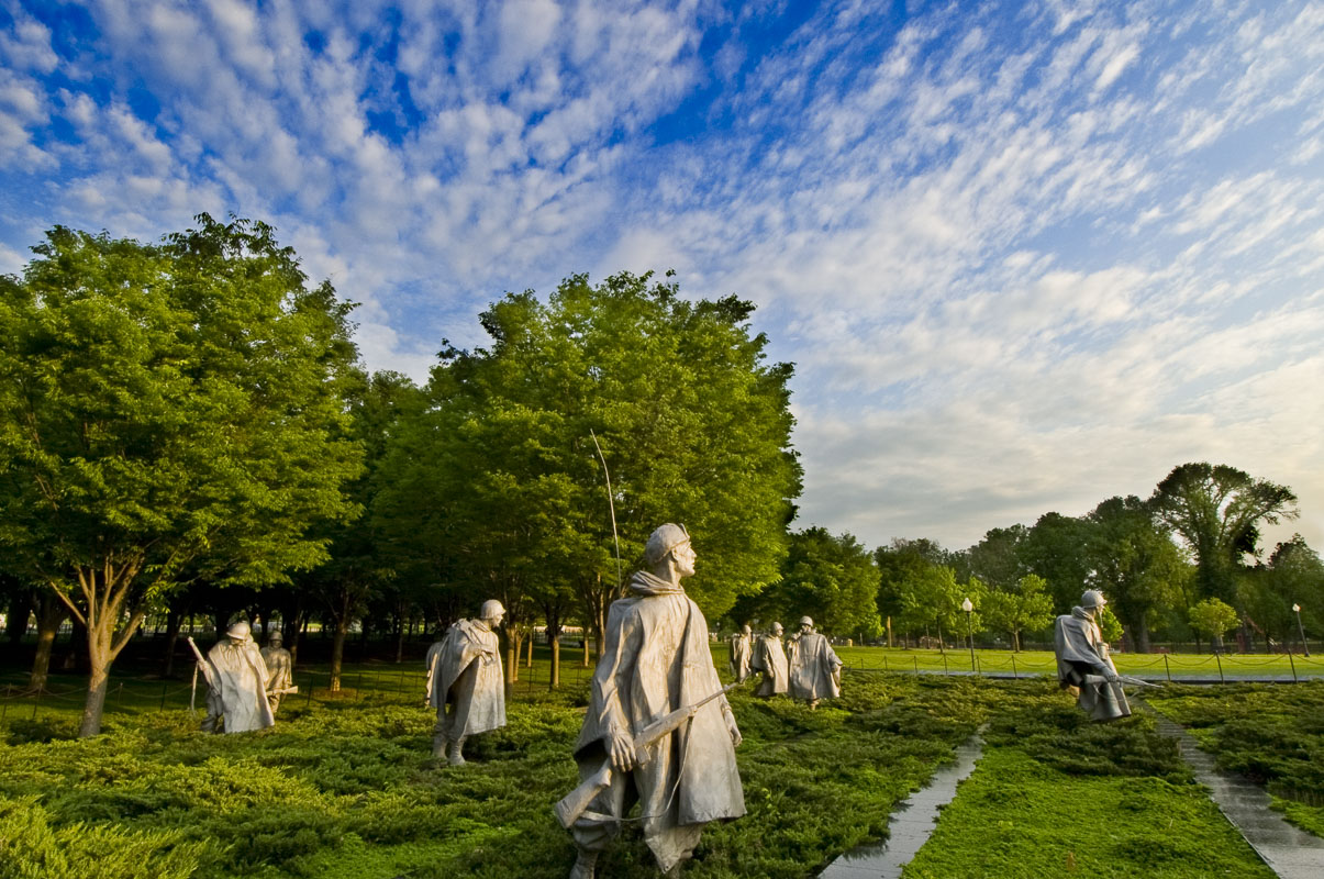Statues of soldiers on patrol highlight the simple elegance of the Korean War Veterans Memorial in Washington, D.C.