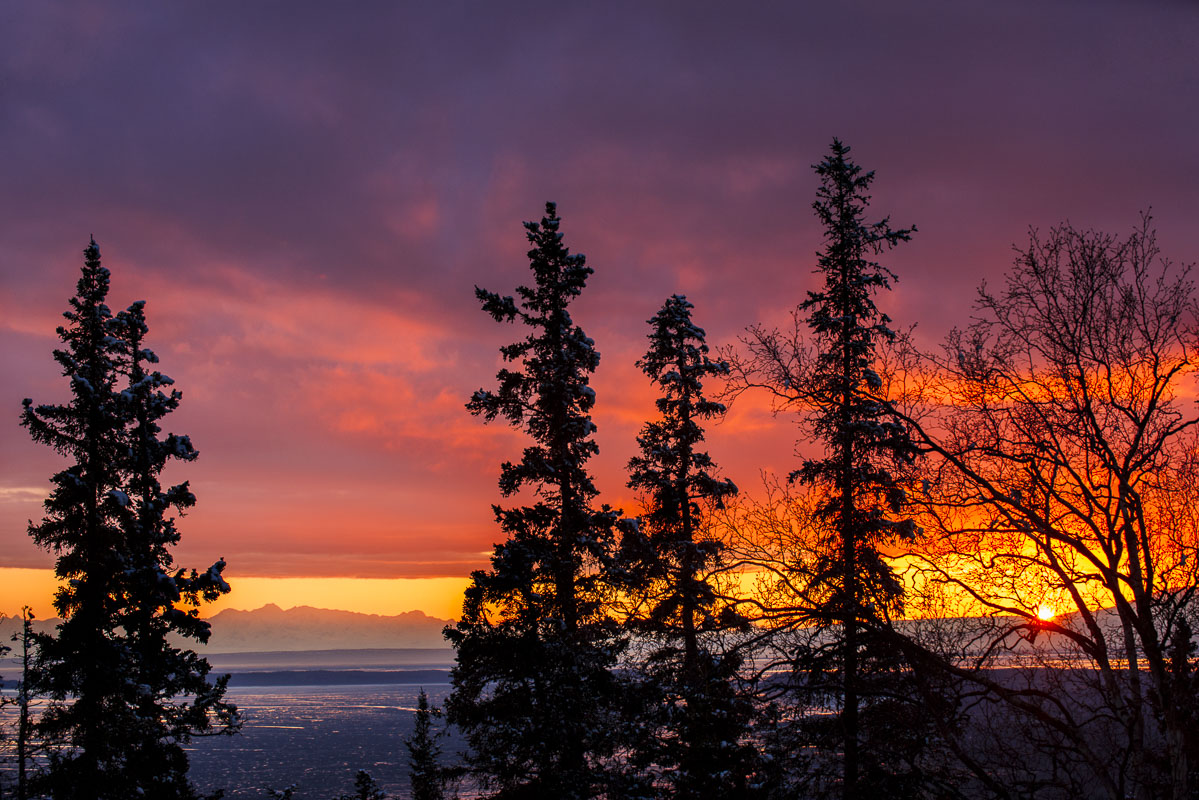 Sunset view from the Anchorage hillside.