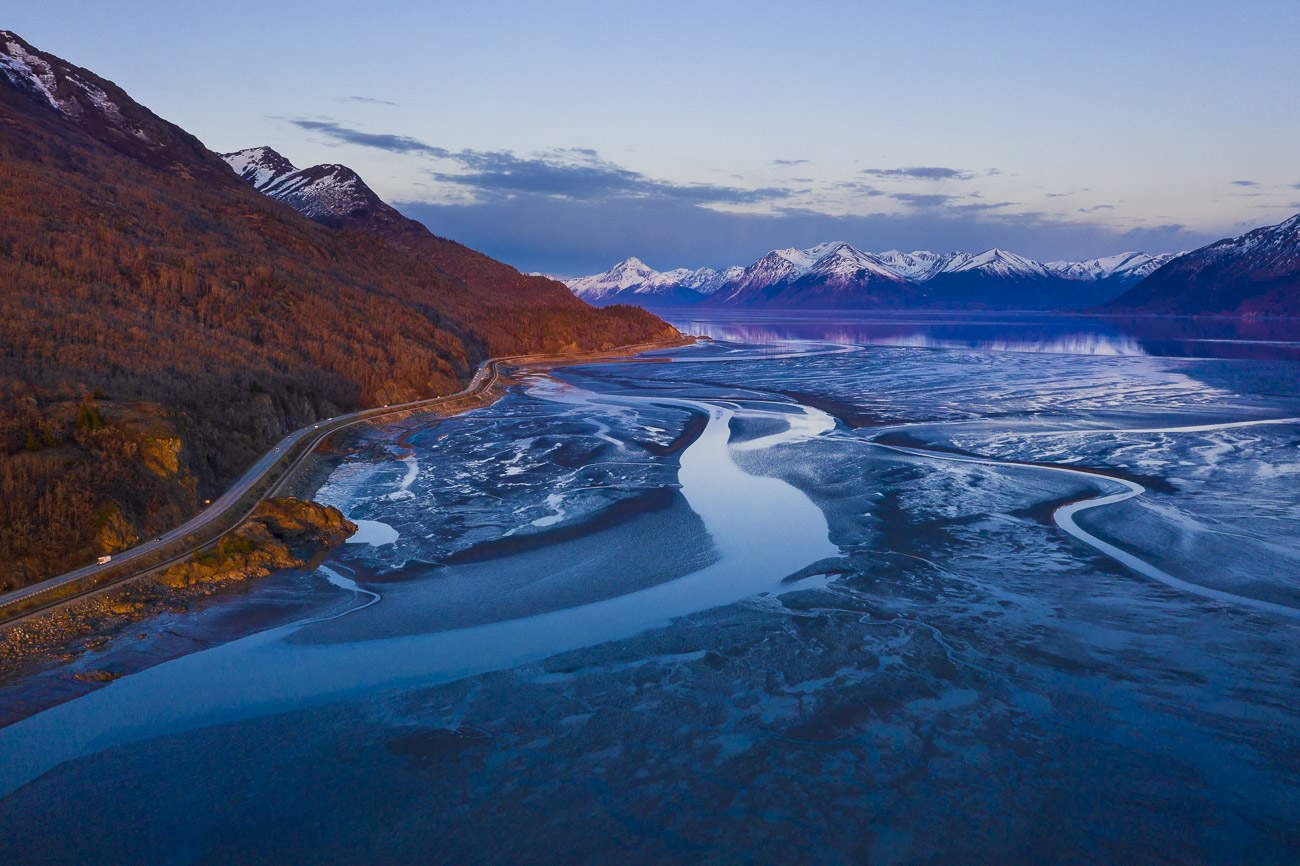 Just south of Anchorage lies the mouth of the Turnagain Arm. From this angle, there are a variety of lines leading to the Kenai...