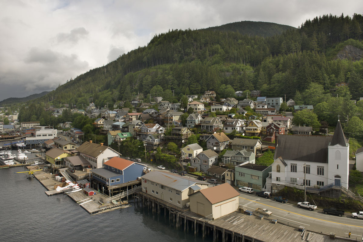 View from Deck 17 of the Grand Princess while in port at Ketchikan, Alaska.