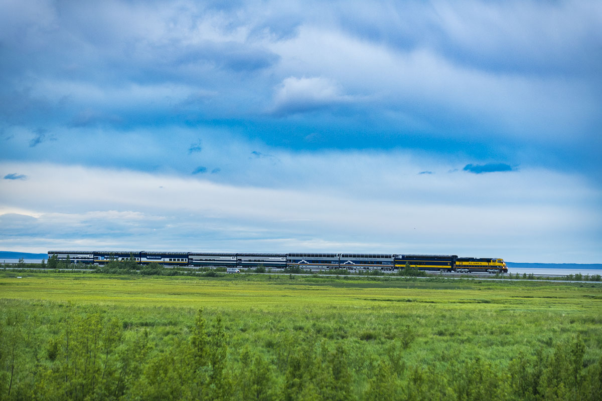 An Alaska Railroad passenger train passes by Potter Marsh on its way into Anchorage.