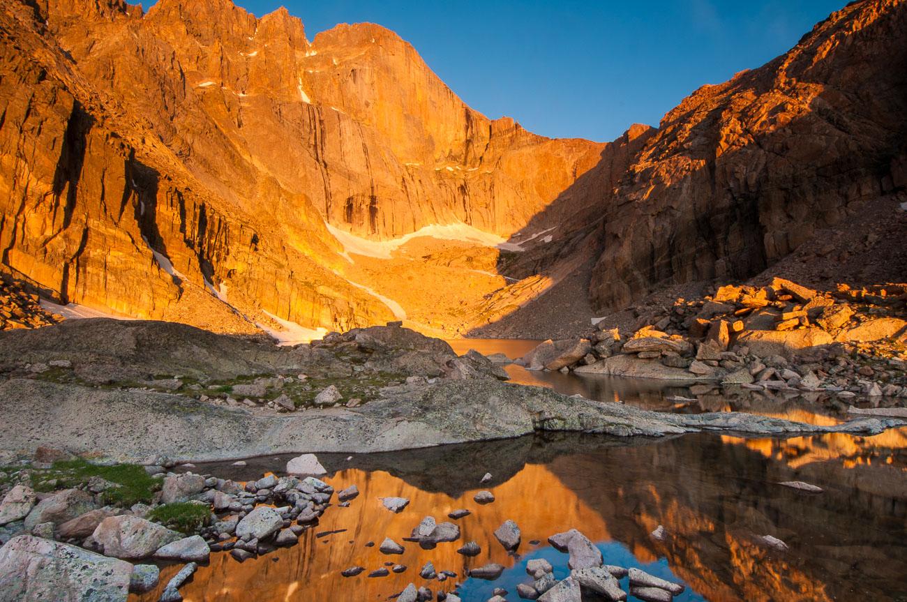 Morning light on Long's Peak, Chasm Lake, Rocky Mountain National Park, Colorado