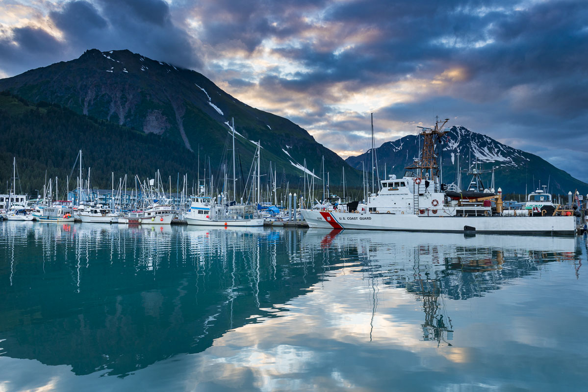 It is after 10:00 p.m., but the sun is still up and lighting up the sky above the Seward small boat harbor in mid-summer.