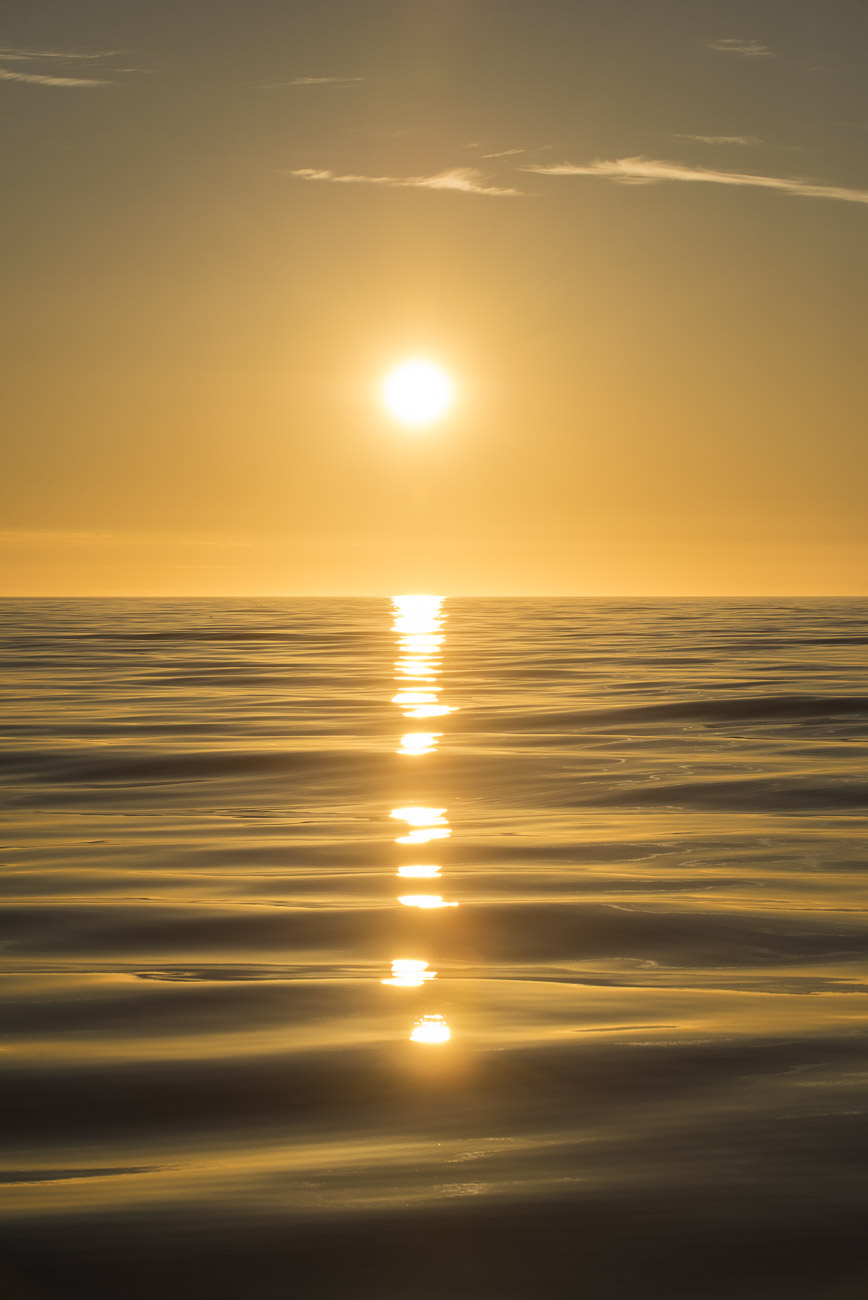 A late evening sun glows over the smooth waters of the Gulf of Alaska.