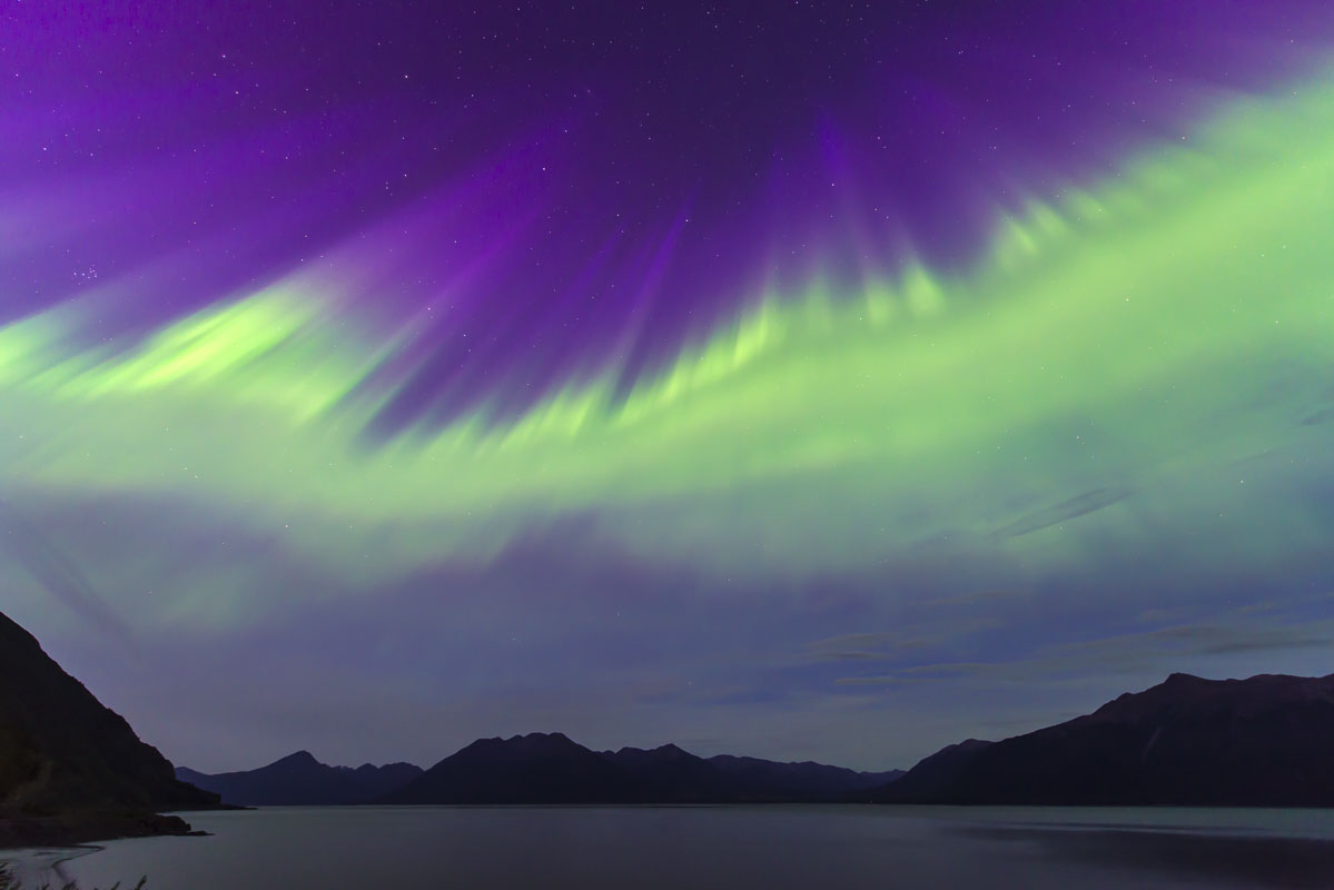 Alaska, Anchorage, aurora borealis, coronal mass ejection, northern lights, summer, photo