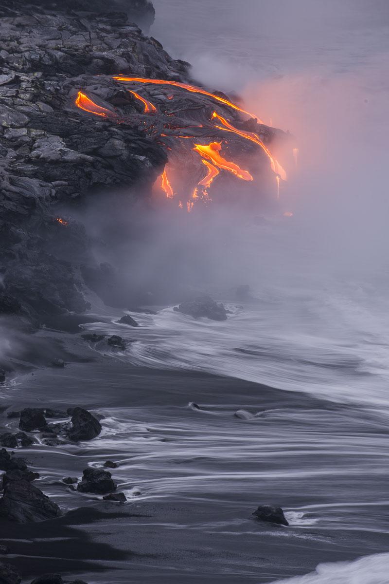 Hawaii, Hawaii Volanoes National Park, coastal, island, lava, shore, summer, surf, tropical, photo