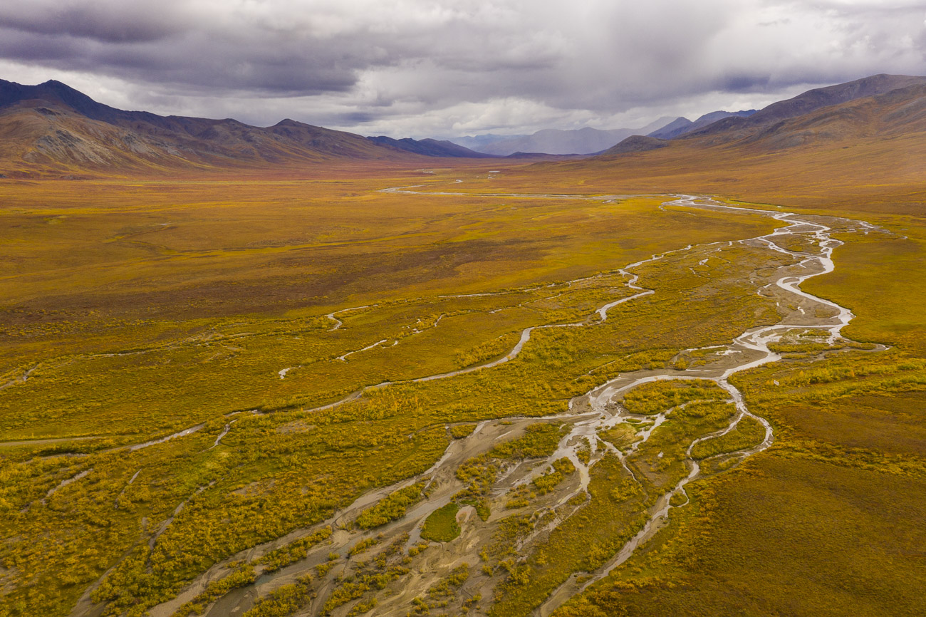 An unnamed river on the Chandalar Shelf in the Brooks Range flows across the Arctic tundra off into the distance. It will be...