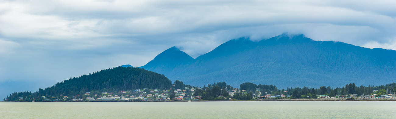 View from the boat of the Southeast Alaska community of Wrangell, Alaska.