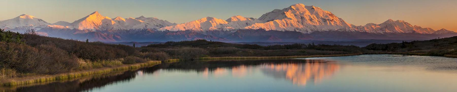 Evening alpenglow adds pink to Mt. McKinley and Mt. Brooks in this view form a pond along the park road in Denali National Park...