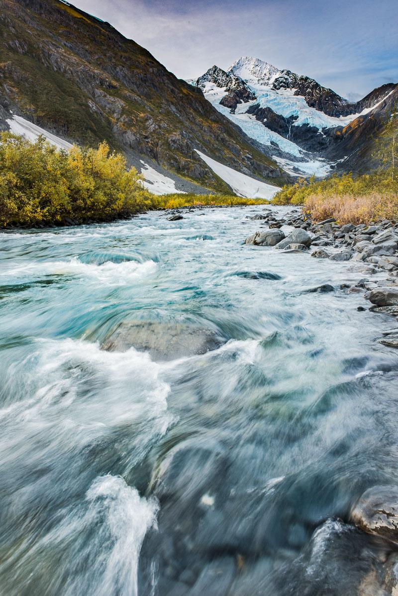 Byron Glacier and creek in autumn, Chugach National Forest.