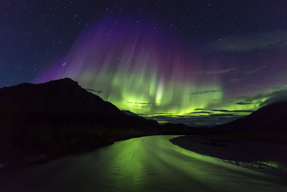 Alaska, Autumn, Dietrich River, Mt. Dillon, aurora borealis, landscape, northern lights, photo