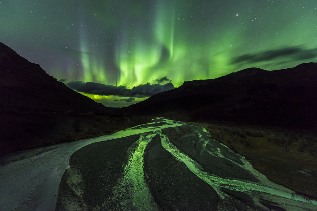 Alaska, Autumn, Denali National Park & Preserve, Savage River, aurora borealis, night sky, northern lights, photo