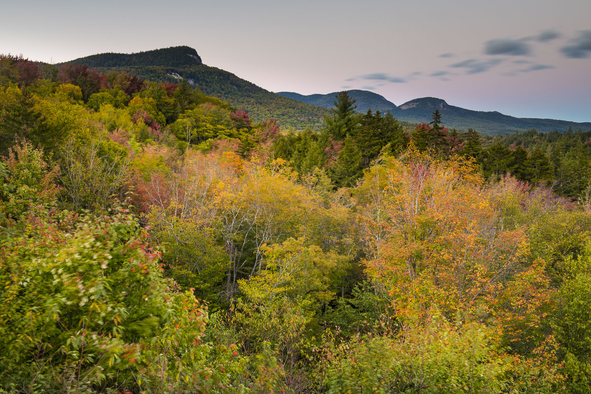 Autumn, Kancamagus Highway, New Hampshire, White Mountains, evening, fall colors, forest, landscape, mountains, photo