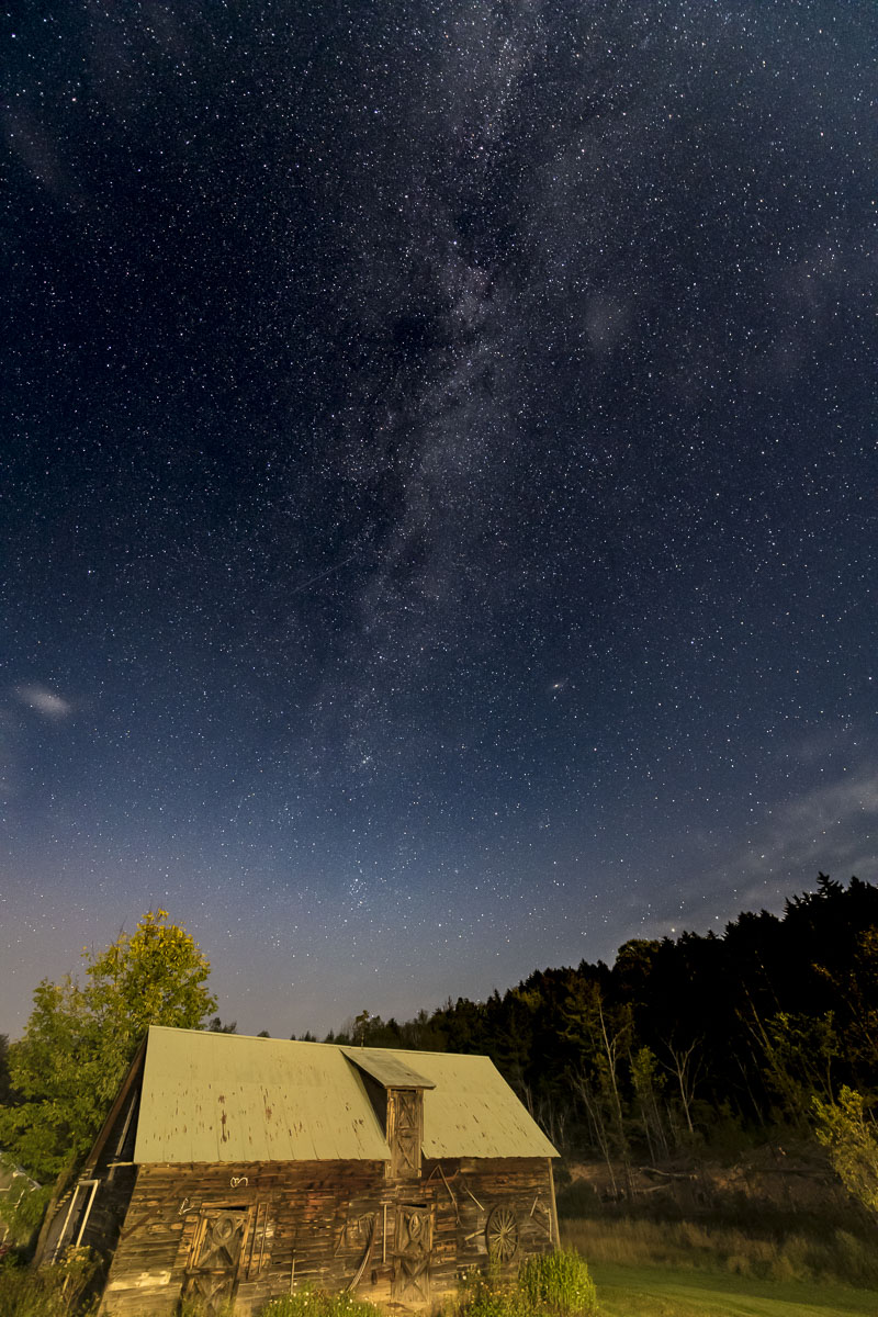 Autumn, Milky Way, Vermont, cabin, farm, night sky, photo