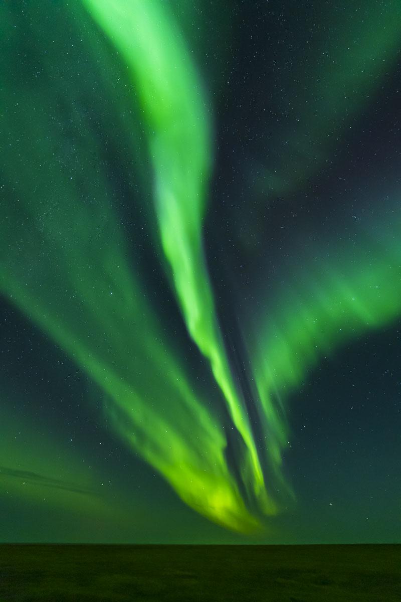 The aurora borealis soars over the flat Arctic tundra of Barter Island near the Inupiat village of Kaktovik in northeastern Alaska...