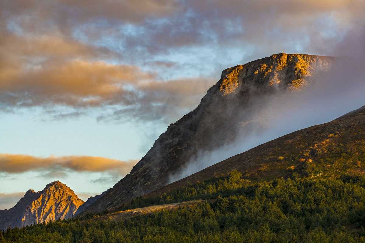Flattop Mountain and Ptarmigan Peak in evening light, Chugach State Park