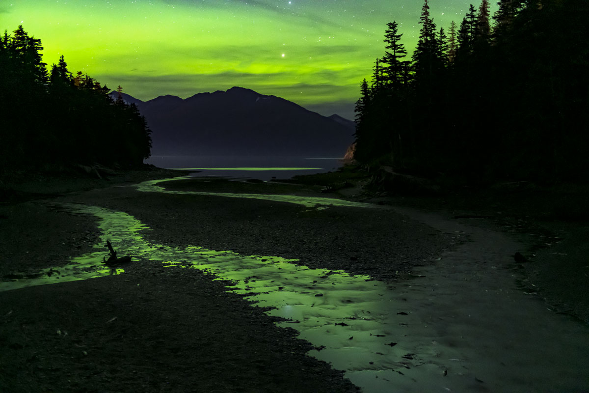 Aurora borealis glow fills the sky and reflects in stream, Cove Creek, Whittier