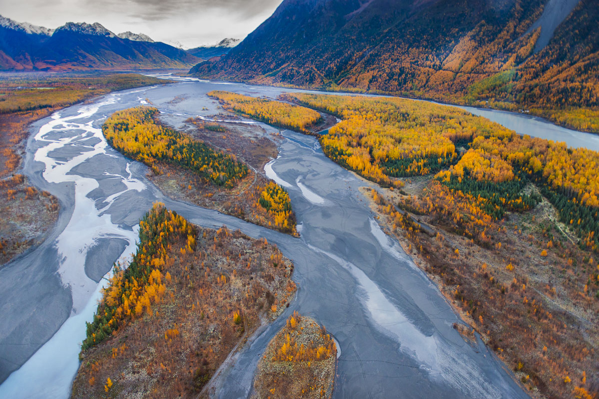 Aerial view of the Knik River at autumn.
