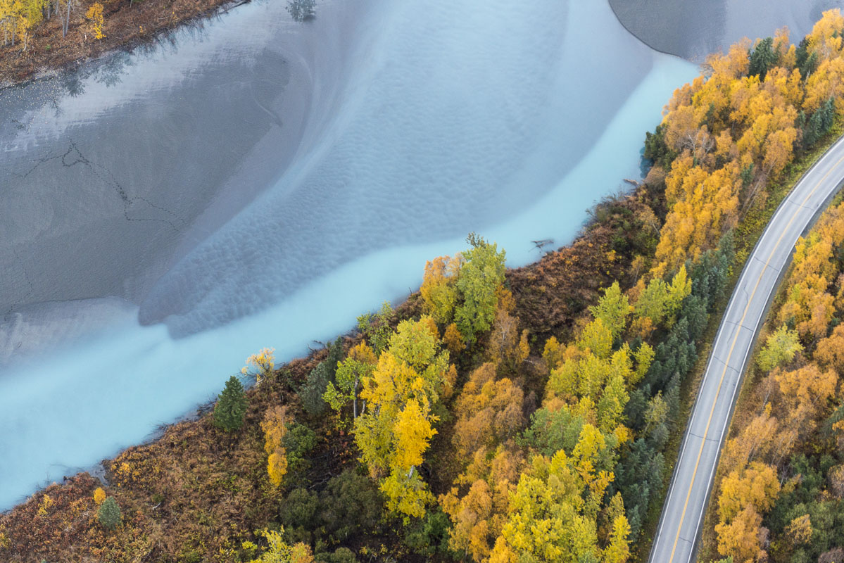 Aerial, Knik River, Alaska, landscape, water, photo