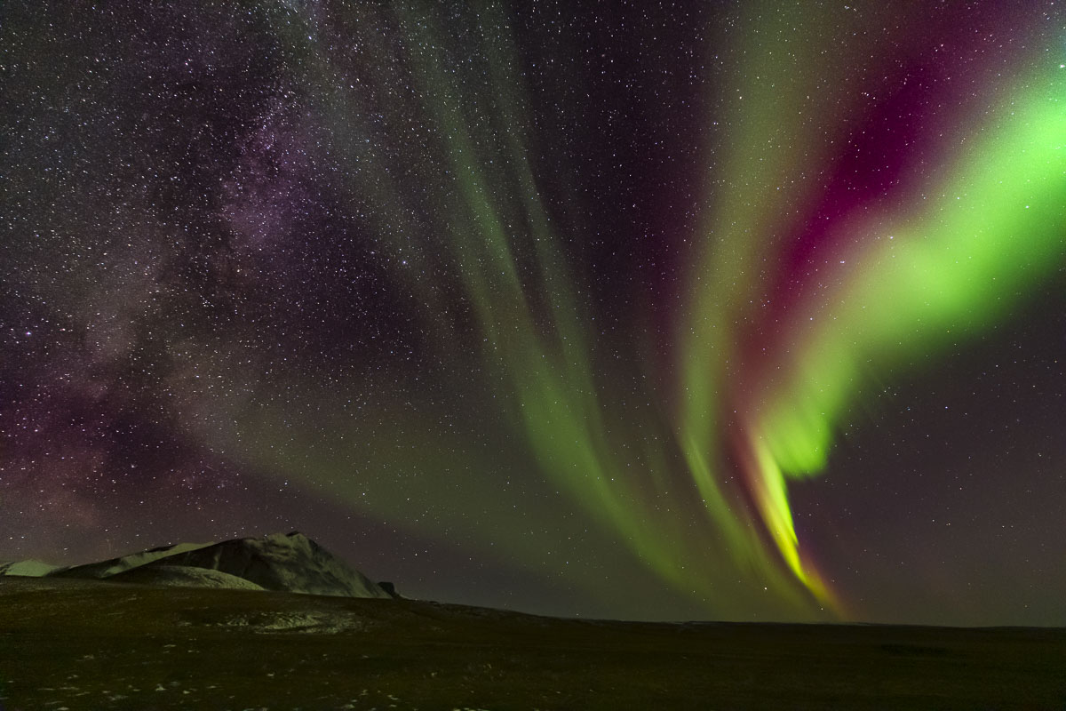 Alaska, Arctic, Brooks Range, Dalton Highway, Galbraith Lake, Milky Way, aurora borealis, northern lights, photo