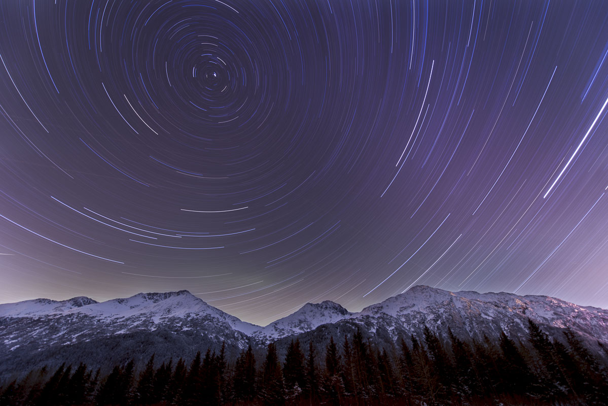 Single-frame star trails on digital, Portage Valley, Chugach National Forest