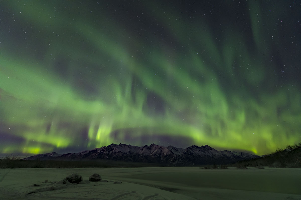 Knik River, aurora borealis, landscape, night sky, northern lights, winter, photo