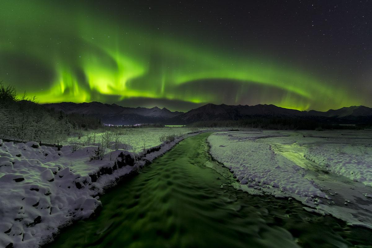 Chugach Mountains, Hunter Creek, Knik River, aurora borealis, landscape, night sky, northern lights, winter, photo