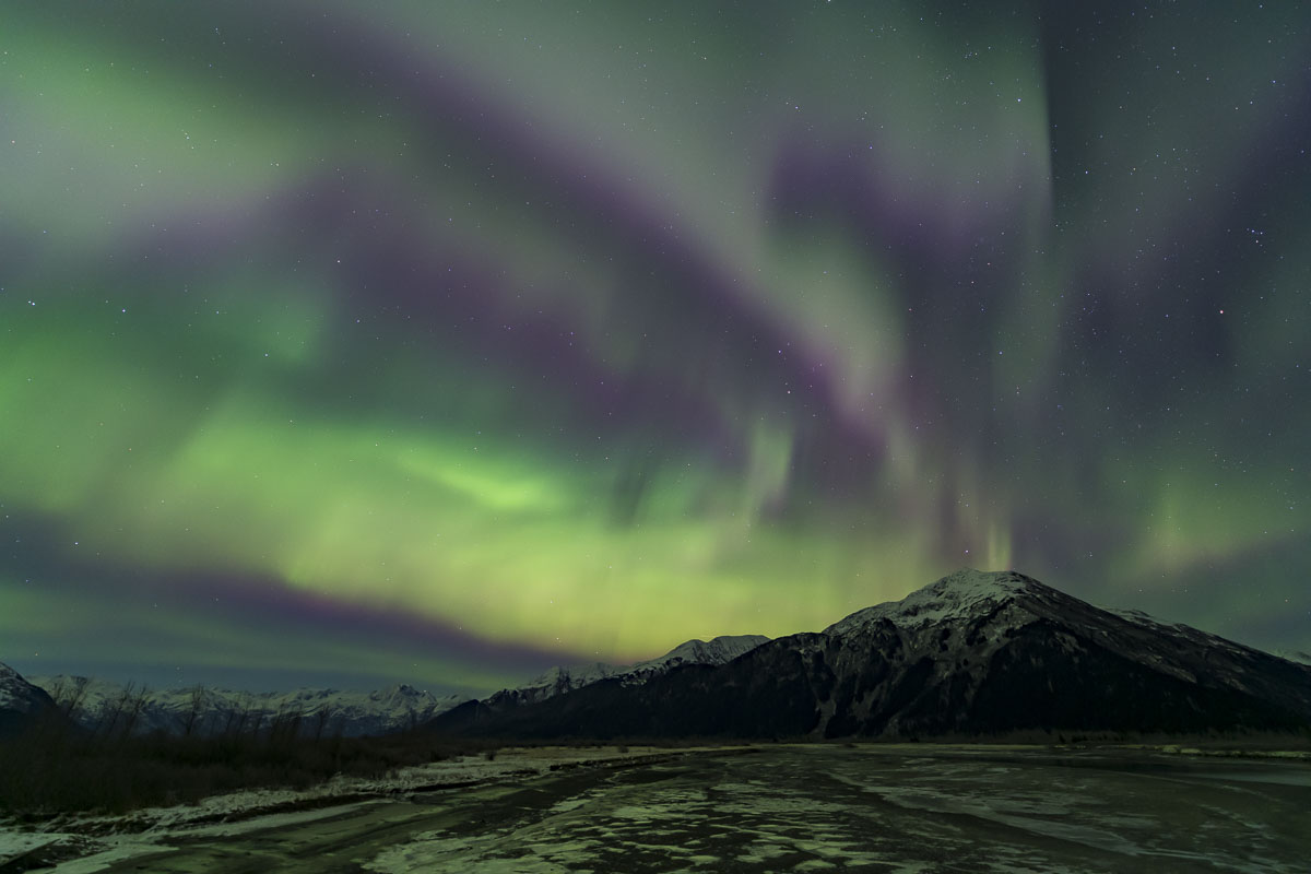 Chugach National Forest, Twenty Miile River, aurora borealis, landscape, night sky, northern lights, winter, photo