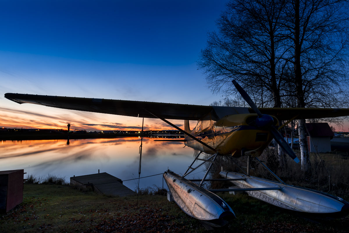 Alaska, Anchorage, Lake Hood Seaplane Base, dusk, evening, float plane, winter, photo