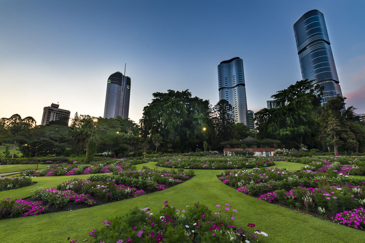 Brisbane City Botanic Gardens with downtown towers in the background.