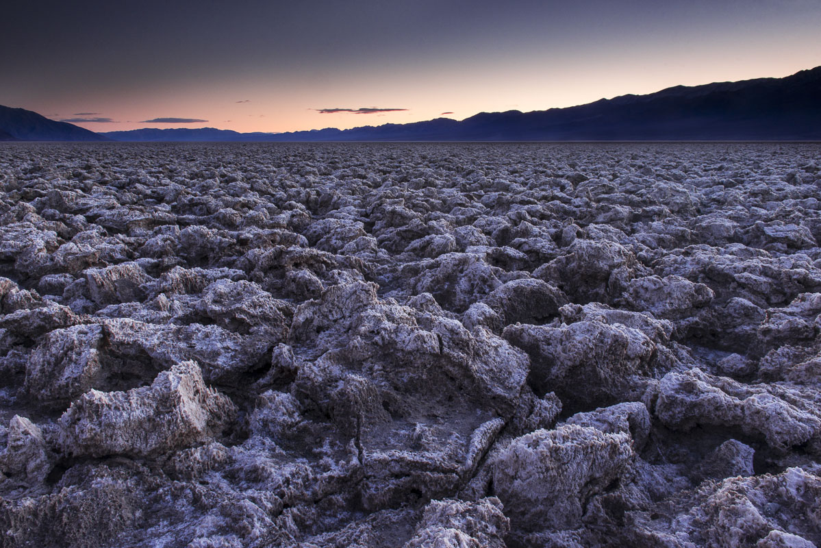 The Devil's Golf Course is a large formation of salt in a basin in the Mojave Desert within Death Valley National Park, Califormia...