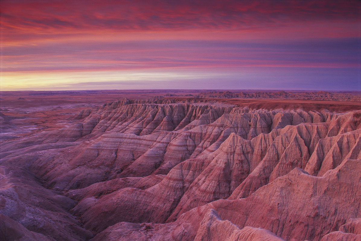 Badlands National Park, South Dakota, desert, film, landscape, national park, sunrise, winter, photo