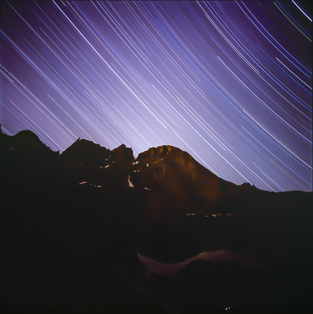 Multi-hour star trails photo using Fuji Velvia film, Chasm Lake, Rocky Mountain National Park