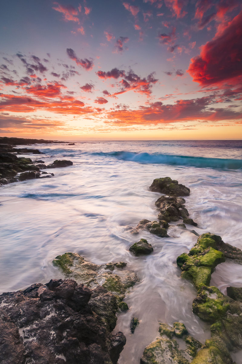 Hawaii, Kona, beach, coast, pink, rocks, sky, sunset, surf, photo