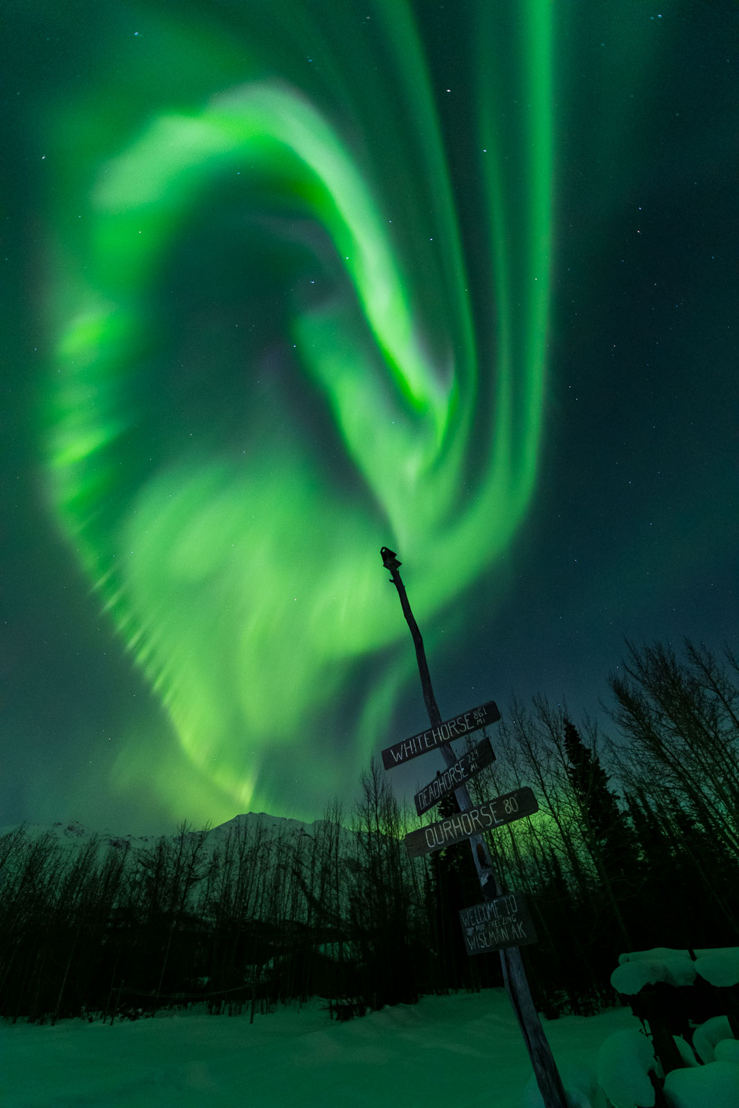 The aurora borealis soars over a sign in Wiseman, Alaska, that points to other destinations.